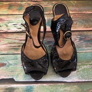 Frye Emily Ankle Star Leather Snakeskin Heels 8.5